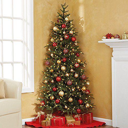 Fraser Fir Corner Artificial Pre-Lit Christmas Tree - http://www.christmasshack.com/christmas-trees/fraser-fir-corner-artificial-pre-lit-christmas-tree/