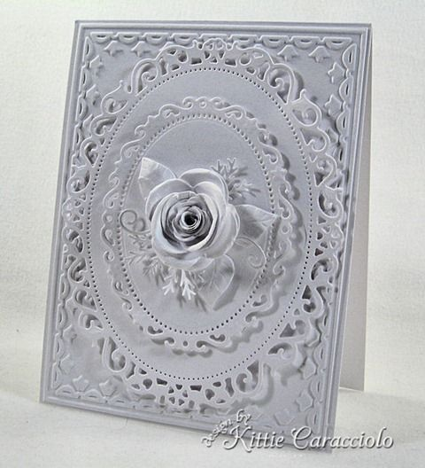 card ideas spellbinders fancy ovals | embossed the card base with the tulip frame folder and then layered ...