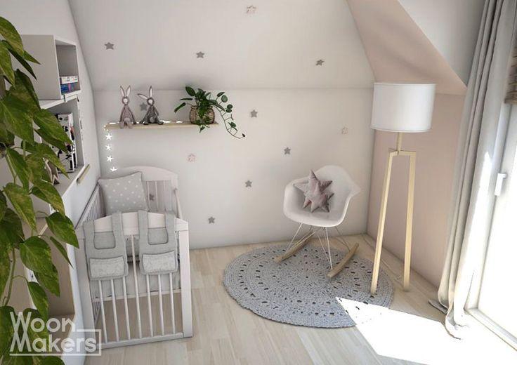 Babykamer voor een meisje. Sterren en licht roze. Little pink star by Woonmakers
