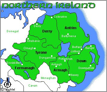 53 best northern ireland images on pinterest ireland travel 6 county northern ireland map the spelling of given in our line shifted to givanupon gumiabroncs Images