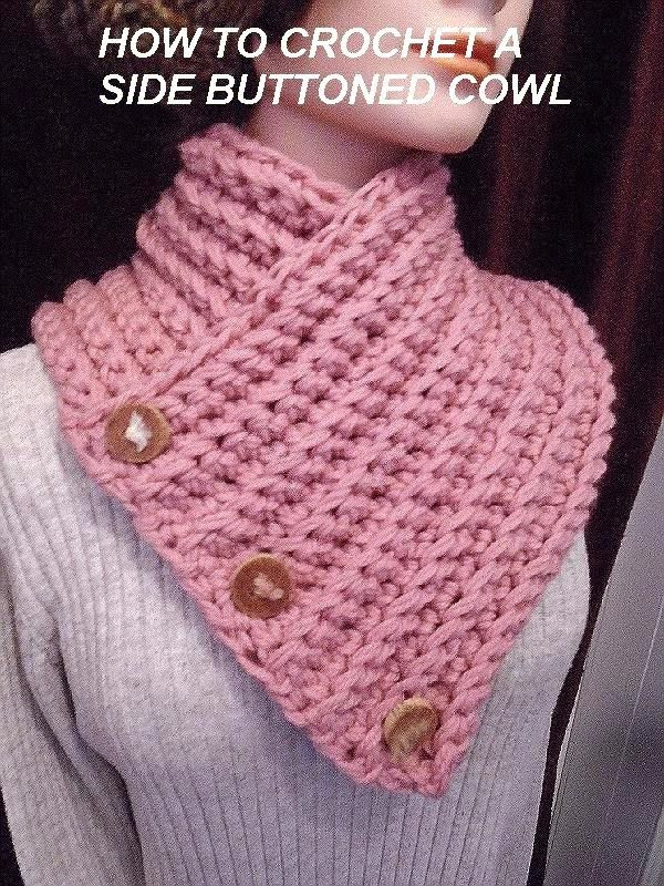 HOW TO CROCHET A BUTTONED WRAP SCARF COWL, winter accessories, women's scarf, crochet pattern, Video # 979 LINK FOR ALL SCARVES: https://www.youtube.com/user...