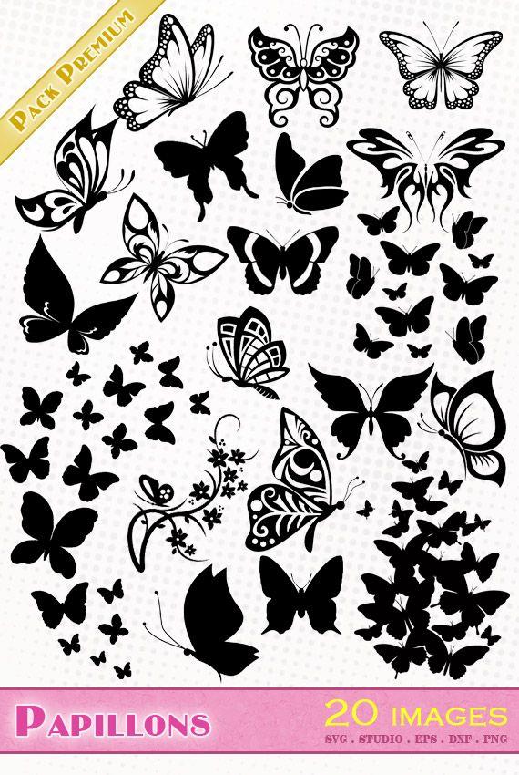 Pack contenant plus de 20 motifs de papillons aux formats SILHOUETTE STUDIO + SVG + EPS + DXF + PNG. Idéal pour le scrapbooking, stickers, découpe, flocage.
