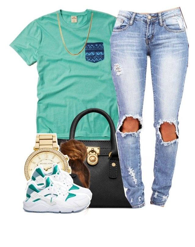"""."" by clickk-mee ❤ liked on Polyvore featuring Hollister Co., Michael Kors, MICHAEL Michael Kors and NIKE"