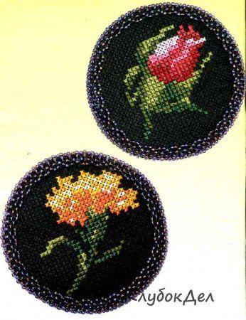 Вышивка крестом «Цветочные броши»