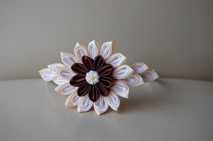 Brawn - beige satin ribbon  headband :)