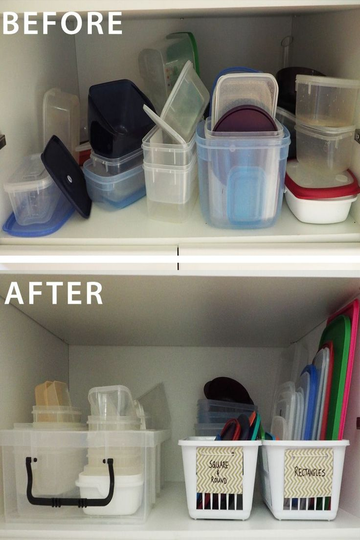 How to organise the food storage containers - separate containers from lids to create an easy-to-maintain system that is need and organised