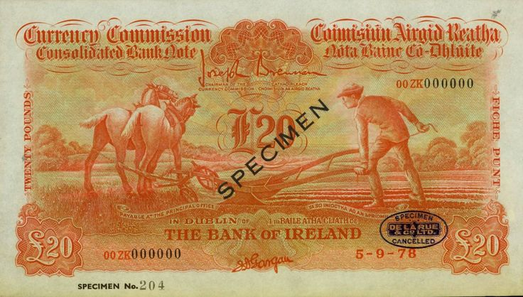 1978 £20 Ploughman - Bank of Ireland colour trial, printed in Orange, cancelled and overprinted Specimen
