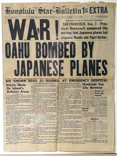"""Best of all Pearl Harbor newspapers...  HONOLULU STAR BULLETIN, 1st EXTRA, December 7, 1941...  """"WAR! OAHU BOMBED BY JAPANESE PLANES""""..."""