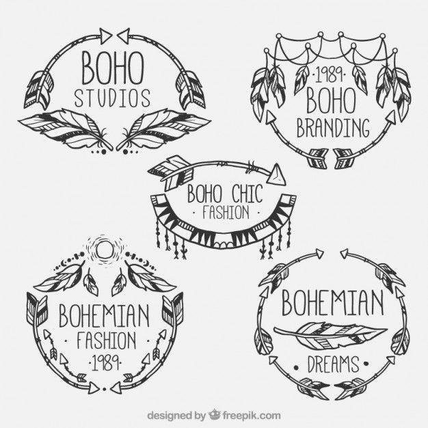logos de mode de style Boho Vecteur Premium