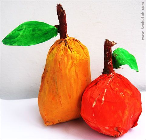 PAPER BAG FRUIT or pumpkins. But tempera flakes off. Might try using craft acrylic paints.