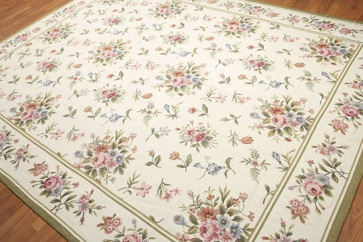 8x10 100 Wool Hand Woven French Needlepoint Aubusson Area Rug Flat Pile Aubusson Traditionaleuropean Rugs Area Rugs Hand Weaving