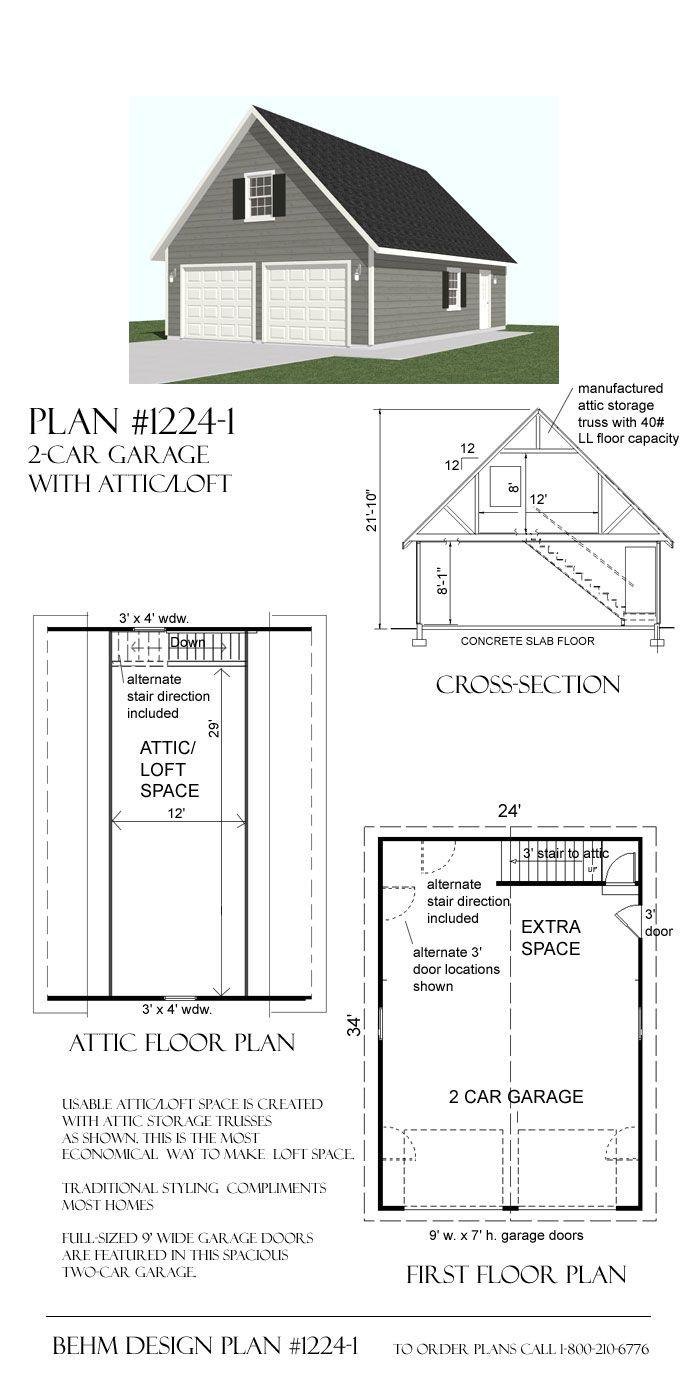 2 Car Steep Roof Garage Plan With Loft 1224 1 24 X 34 Garage Plans Detached Garage Plans With Loft Garage Plans