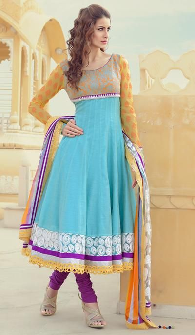 G3 fashions Cyan Orange Cotton Wedding Wear Designer Salwar Suit  Product Code : G3-LSA104334 Price : INR RS 7032