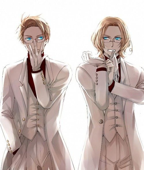 Reminds me of Black Butler. Or is that what was intended? Really! Alfred looks like a blonde version of Claude. America and Canada - Hetalia // Lads. Lads no. First Scotland was upsetting your aunt, now you are. Stop. Especially you Canada. Stop being hot.<<<don't listen Canada don't listen