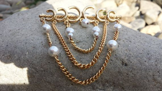 Unique Vintage Faux Pearl Gold Tone Brooch Chains by themagickcat