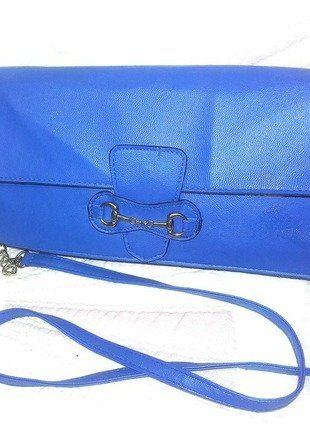 Kup mój przedmiot na #vintedpl http://www.vinted.pl/damskie-torby/kopertowki/17890891-kobaltowa-torebka-na-zlotym-lancuszku