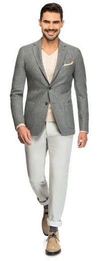 Light grey fine serge - Made to Measure jacket by Louis Purple