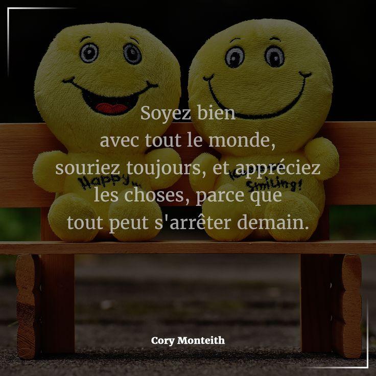 """#Citation du jour : #Attitude & #Pensée #Positive. """"Soyez bien avec tout le monde, souriez toujours, et appréciez les choses, parce que tout peut s'arrêter demain."""" - Cory Monteith    Si vous souhaitez faire partie de nos #partenaires ou parmi nos #équipes expérimentées, n'hésitez pas à nous contacter pour tous renseignements #Email: contact@bionoxo.com #PositiveQuoteNº306."""