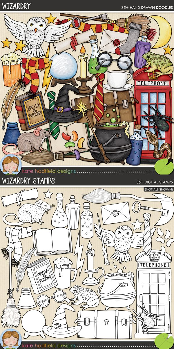 Wizard and Witch digital scrapbooking elements | Cute Halloween clip art | Hand-drawn doodles for digital scrapbooking, crafting and teaching resources from Kate Hadfield Designs!