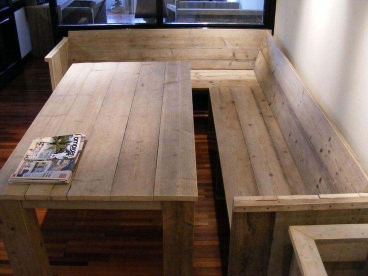 Bank met zij en rugleuning gemaakt van steigerhout (22131515)   Bankjes & Stoelen   JORG`S Houten Meubelen