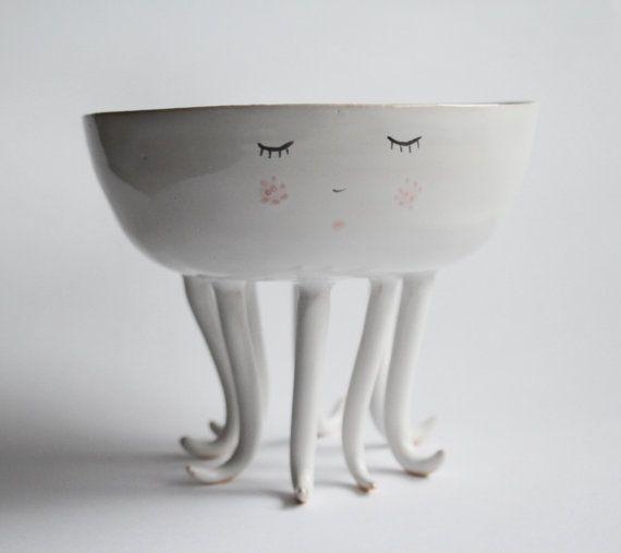 Ollie Oktopus - Krake Keramik Schale, Keramikschale, Krake mit Pausbacken und Polka dots