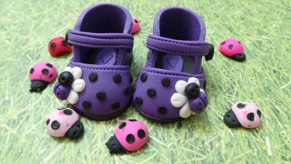 Edible Pair of BEE baby girl shoes  Cake Topper Made by anafeke2