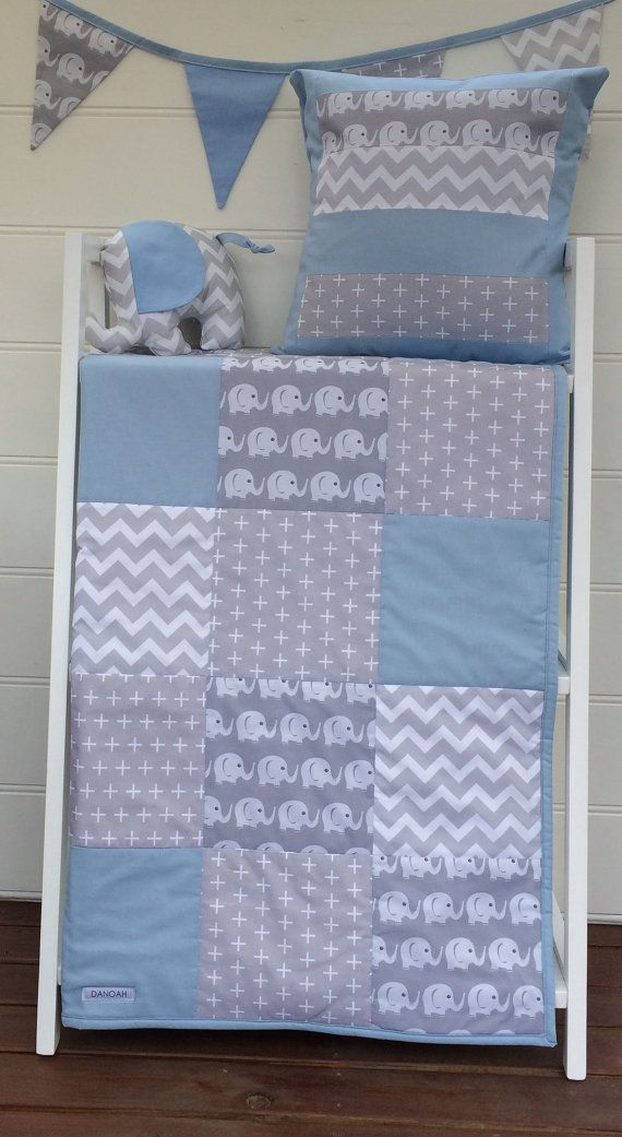 Patchwork cot quilt in Baby Blue and Grey Elephants with by Danoah
