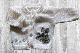 Cat Grey Baby Sweater
