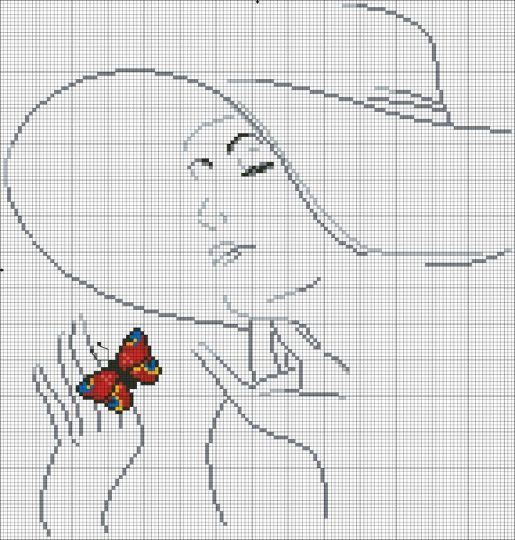 Девушки с бабочками. Вышивка крестиком, монохром.