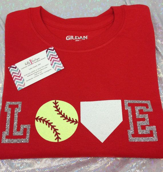 Glitter LOVE Softball Tshirt Many Colors by KallysBOWtique on Etsy, $15.00