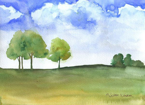 """Original watercolor on paper, Summer Afternoon, 9""""x11.5"""" (landscape/horizontal orientation) 2011 This is painted with quality artist watercolor paints on heavy watercolor paper. Painting comes signed"""