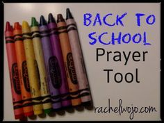 The Back to School Prayer Tool uses the basic eight colors in a crayon box to focus prayer thoughts for the school season.Wonderful guide for praying for your child, no matter what school setting has been chosen.