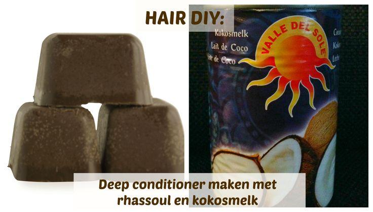 Een DIY recept bestaande uit kokosmelk en Anita Grant Rhassoul cubes voor deep conditioner. Geschikt voor kroeshaar, black hair, krullend haar, natural hair