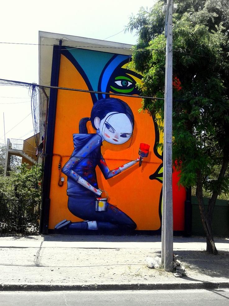 """""""INTEGRACIÓN"""". Artist: MONO GONZALEZ y SETH. Street Art Museo a Cielo Abierto in Chile, Santiago"""