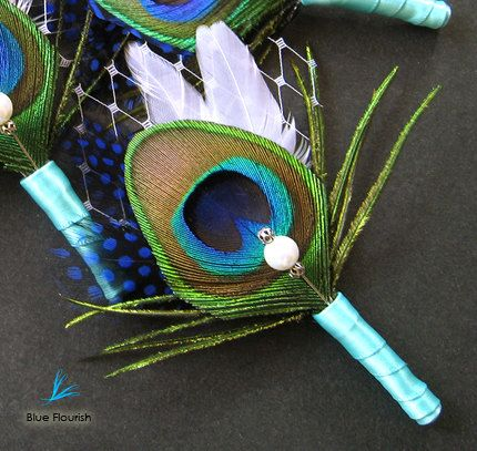 8 corsages royal blue peacock feather wedding by Rationale on Etsy, $116.00