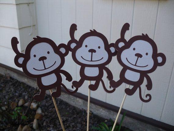 One SET Of 3 Monkey Centerpieces