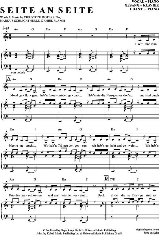 Seite an Seite (Klavier + Gesang) Christina Stuermer [PDF Noten] >>> KLICK auf die Noten um Reinzuhören <<< Noten und Playback zum Download für verschiedene Instrumente bei notendownload Blockflöte, Querflöte, Gesang, Keyboard, Klavier, Klarinette, Saxophon, Trompete, Posaune, Violine, Violoncello, E-Bass, und andere ...