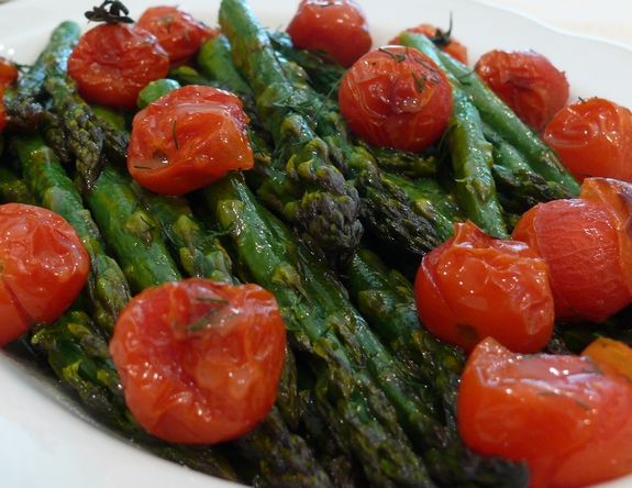 Roasted Asparagus & Tomatoes with a Honey-Citrus Dressing, #sides, # ...