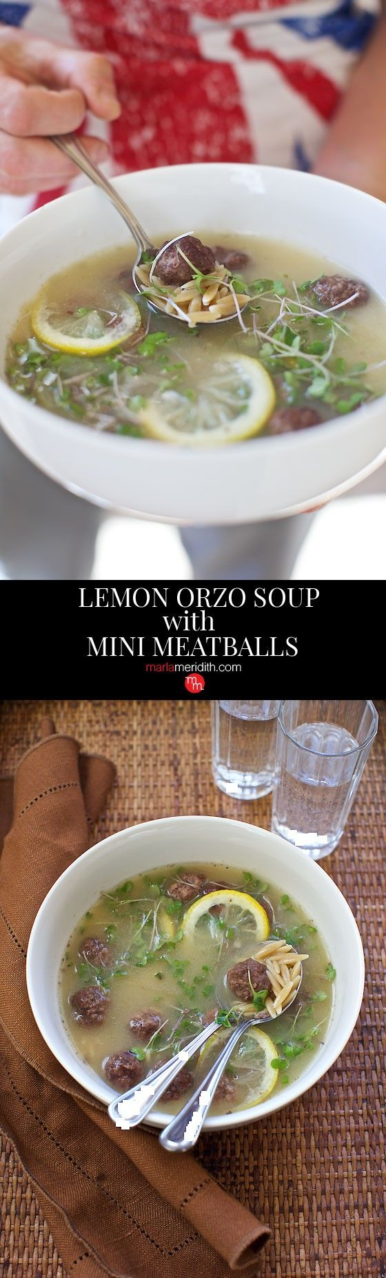 Lemon Orzo Soup with Mini Meatballs | This soup can be on your table in just 12 minutes! MarlaMeridith.com ( @marlameridith )
