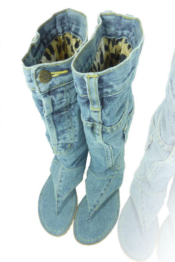 Jeans sandal boots, handmade. size US 9.5, Euro 41 | Flip ...