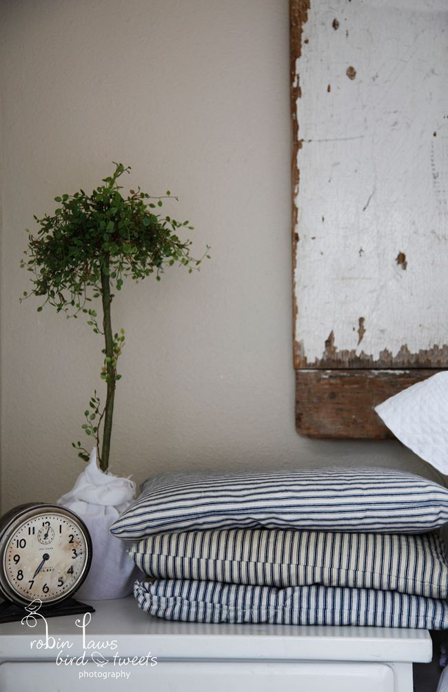 topiary, weathered wood and vintage fabrics: Sparrows Cottages, Vintage, Tick Cushions, Tick Stripes, Floors Cushions, Country Farmhouse, French Tick, Tick Pillows, Floor Cushions
