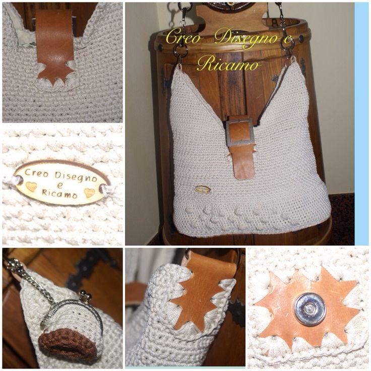 Mod.Giovanna  Eseguito con cordino ESTASY e accessori in vero cuoio  Riproducibile su ordinazione