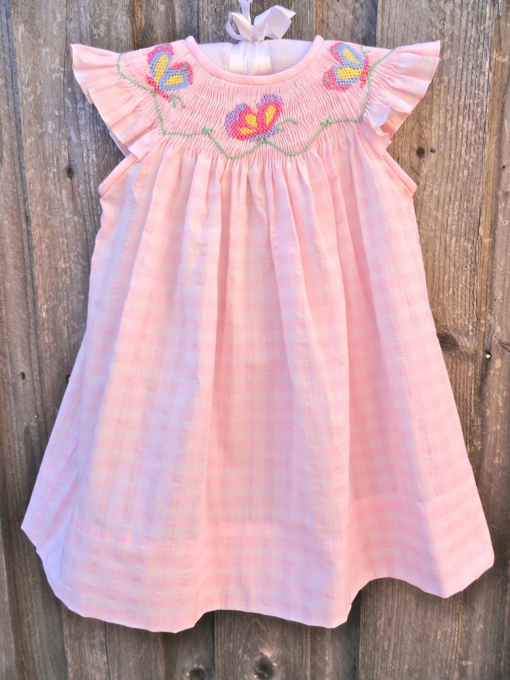 Pink Check Butterfly Smocked Dress