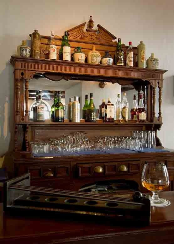 The vintage bar at Armoury Cafe in Brunton Boatyard, Fort Cochin