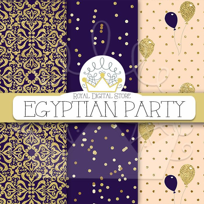 "Purple digital paper: ""EGYPTIAN PARTY"" with purple background, purple scrapbook paper, dark purple and gold, glitter, chevron, gold #partysupplies #gold #damask #digitalpaper #scrapbookpaper #planner #glitter"
