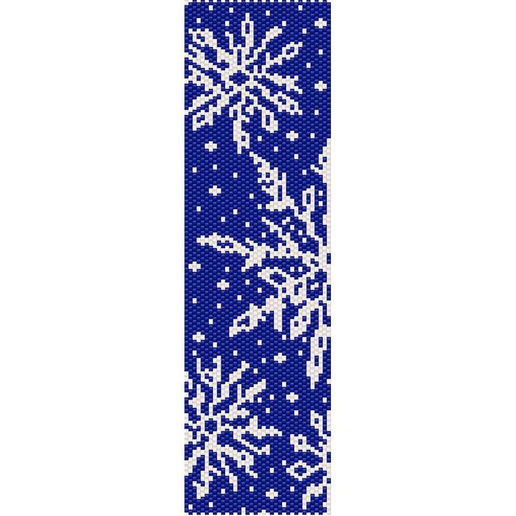 Snowflakes Winter Peyote Bead Pattern, Christmas Bracelet, Bookmark, Seed Beading Pattern Miyuki Delica Size 11 Beads - PDF Instant Download by SmartArtsSupply on Etsy