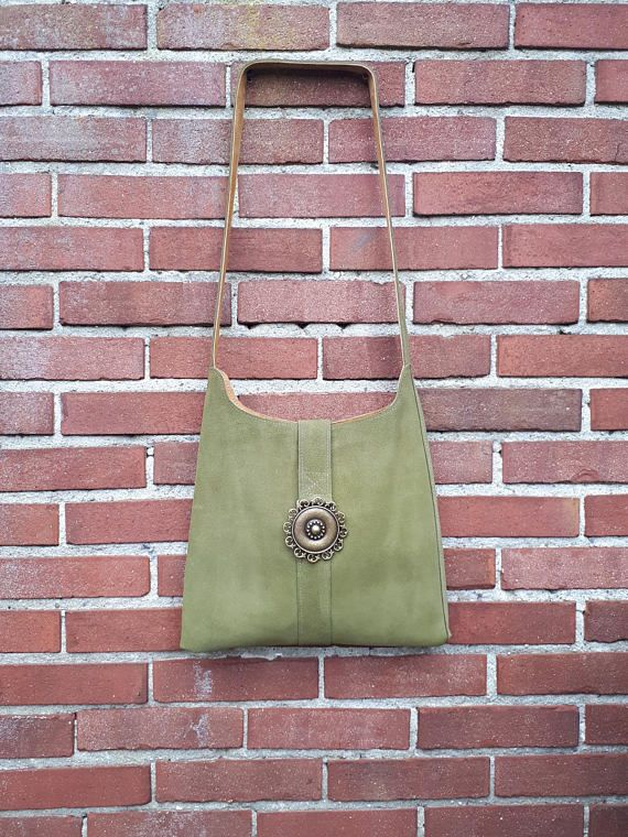 Suede bag  Suede Shoulderbag Green Shoulder Bag Women