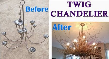 DIY Twig Chandelier - Amazing Rustic Chandelier... | DIY Projects