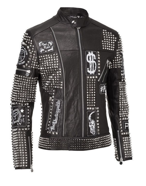 Philip Plein Full Black Handmade Studded Emroidery Patches Leather jacket - Outerwear