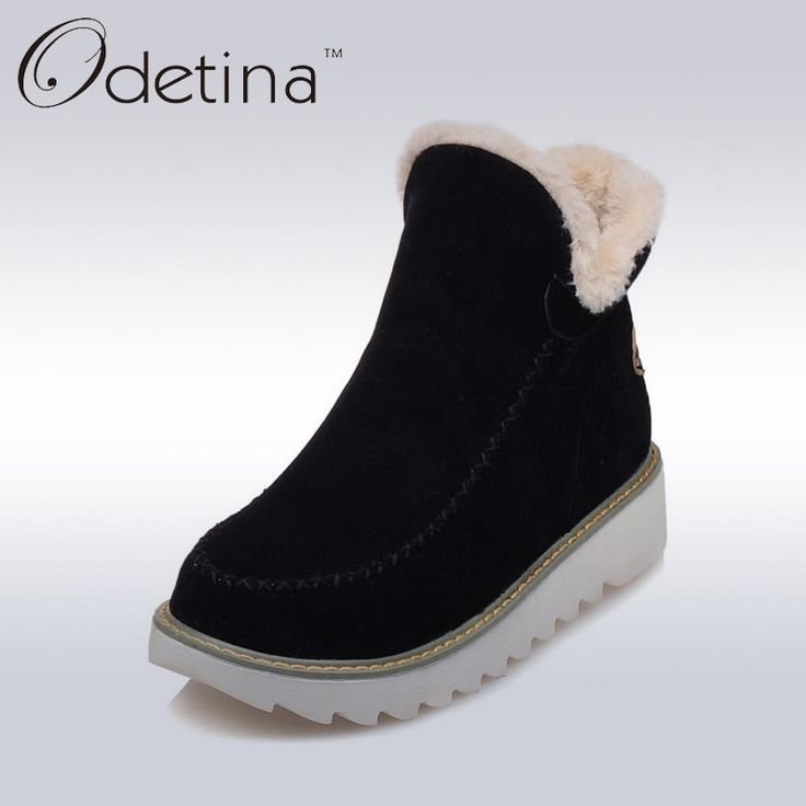 Odetina 2017 Warm Plush Platform Ankle Snow Boots Flat Women Winter Shoes Non-slip Large Size Black Suede Ladies Slip On Boots